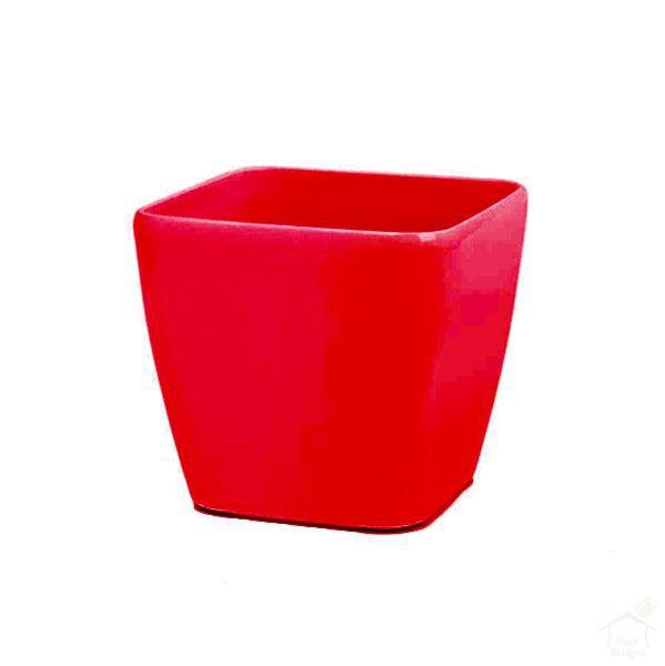 "Pots Red 5.5"" Siena Square Plastic Planter"
