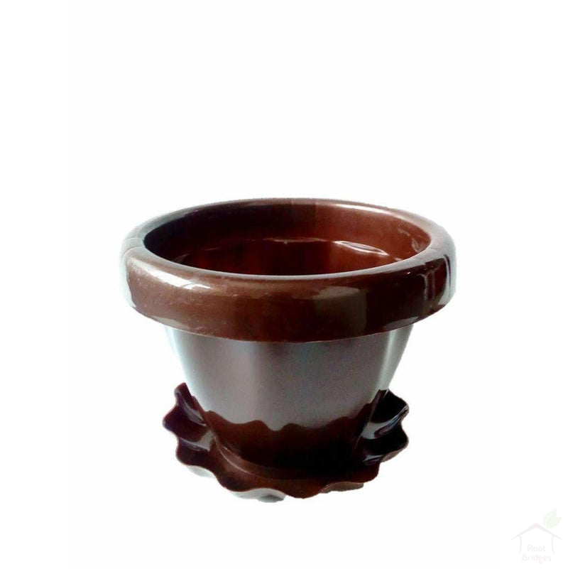 Pots Brown Flower Vase with Plate Plant Container
