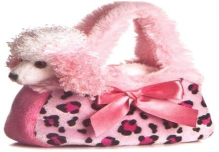 6091 - Poodle in Pink Leopard Print Bag . TAMARR SALE 50% OFF  MIN  24 ASSORTED