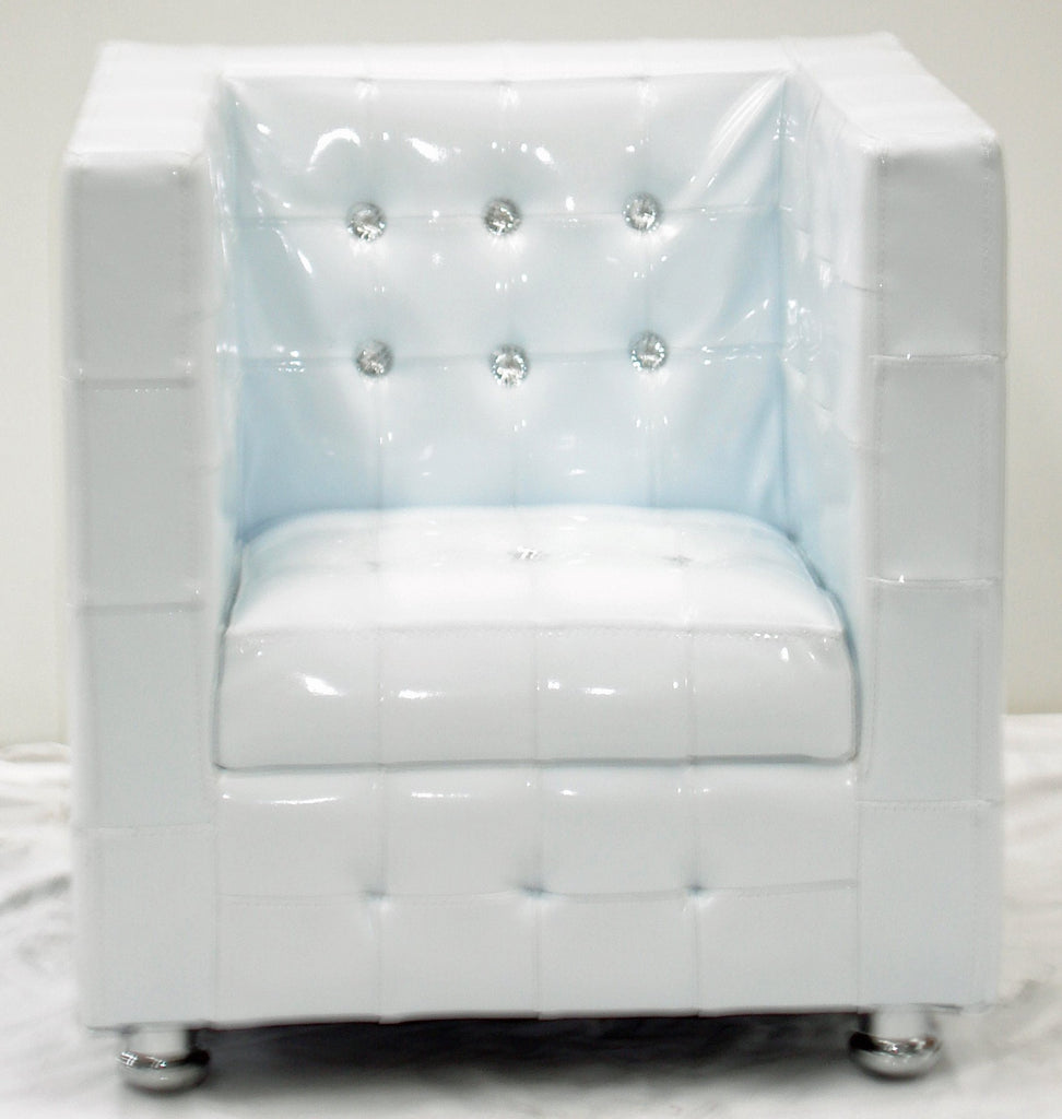 7601 - 50cm White Vinyl Diamante Childrens Arm Chair