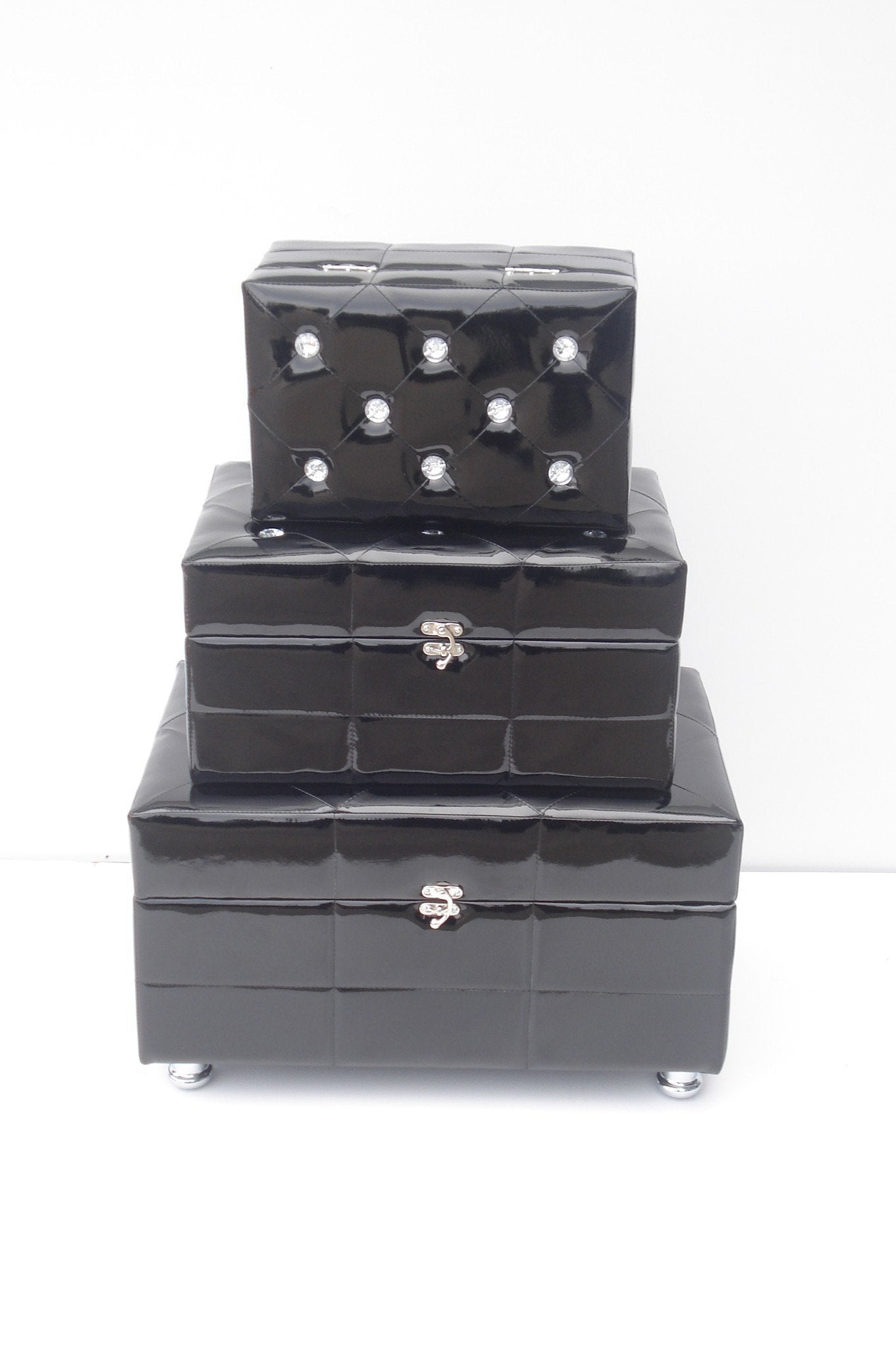 7615 - Set of 3 Black Diamante Chests - Tamarr Imports Innovative Giftware Pty Ltd