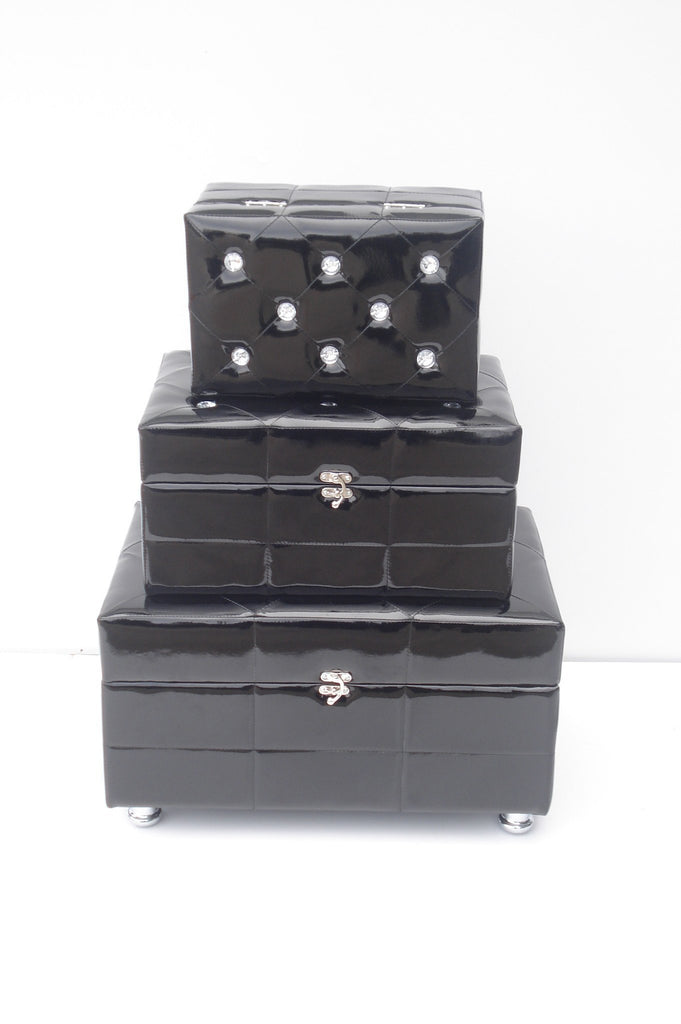 7615 - Set of 3 Black Diamante Chests