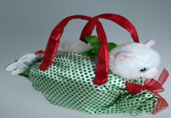 B09680C - Cat in Green/Red Lolly Bag - Tamarr Imports Innovative Giftware Pty Ltd