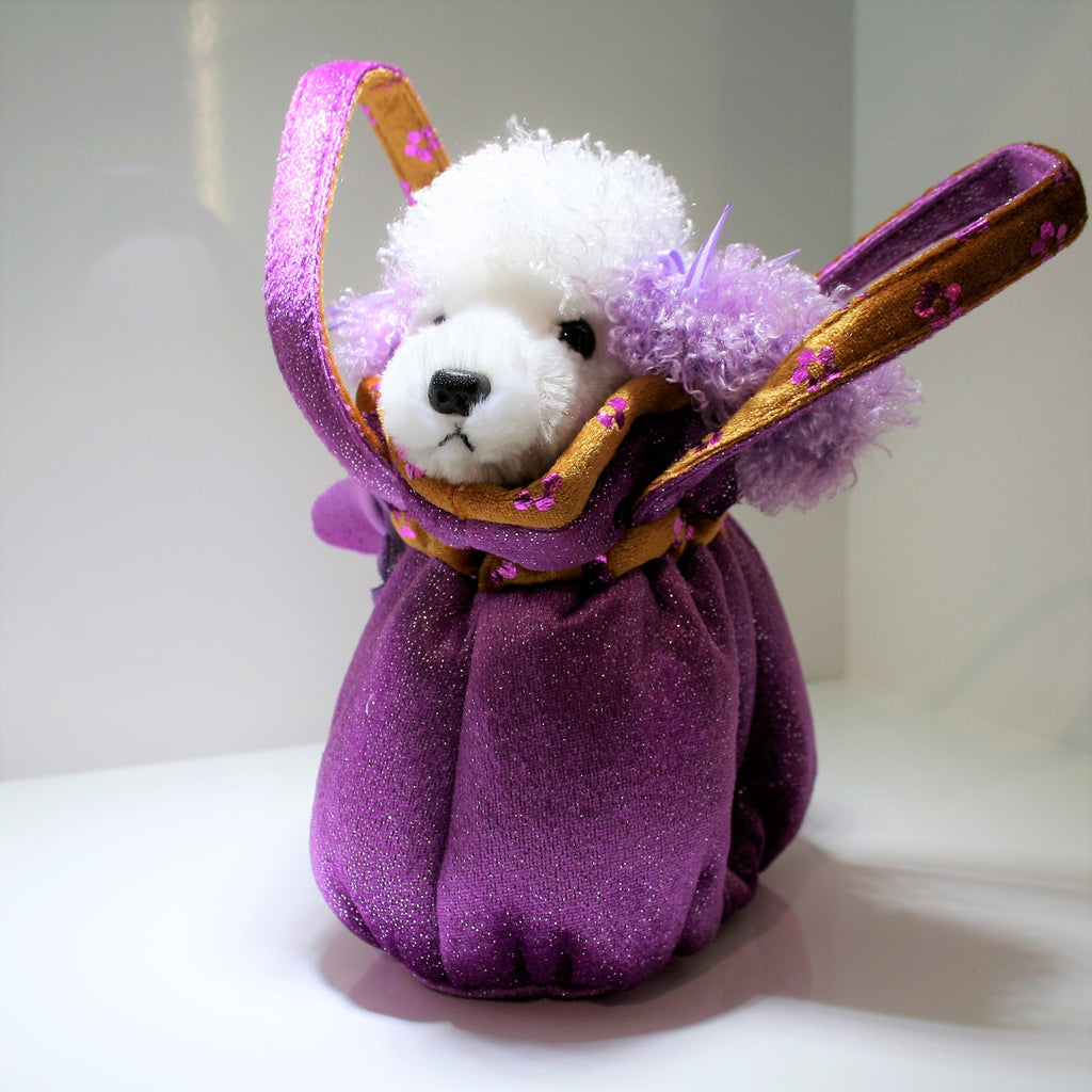 B32504 - Poodle in Fancy Purple Scrunchy Bag
