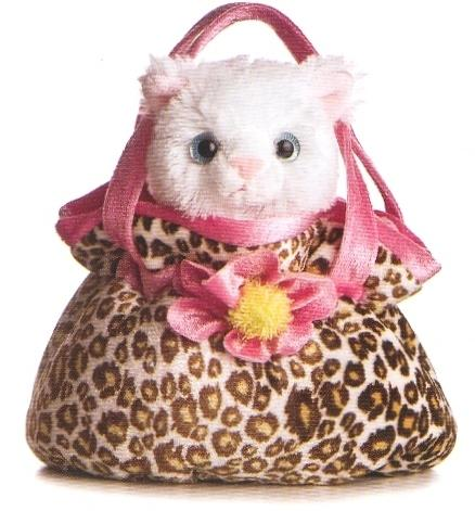 B32533 - White cat in leopard handbag