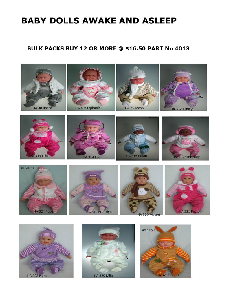Bulk Pack 4013 . 12 ASSORTED.  Sleeping and Awake   Baby Dolls . TAMARR SALE 50% OFF  12 ASSORTED
