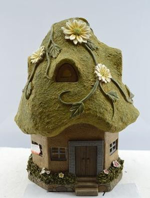 FD52  - Moss Solar Fairy House - * TAMARR SALE 50% OFF . BOXED QUANTITIES (2,3,4) 2 . MIN 12 ASSORTED