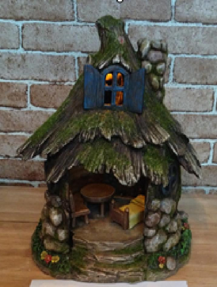 FD54 - Stone Solar Fairy House - *TAMARR SALE 50% OFF. BOXED QUANTITIES (2,3,4) 4 . MIN 12 ASSORTED