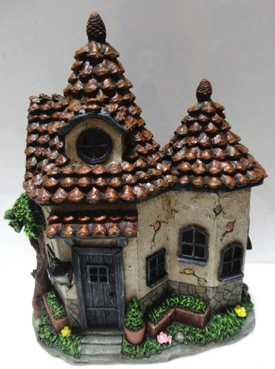 FD56 - Pine Cone Solar Fairy House with 2 Roof - *TAMARR SALE 50% OFF . BOXED QUANTITIES (,3,4) 3 . MIN 12 ASSORTED