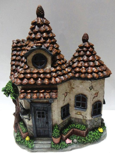 Fd56 Pine Cone Solar Fairy House With 2 Roof Winter