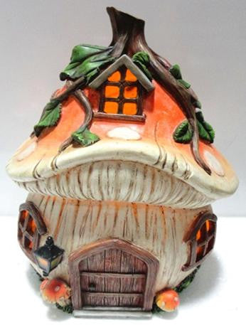 FD57 - Mushroom Solar Fairy House -   *TAMARR SALE 50% OFF , BOXED QUANTITIES (2,3,4) 4 . MIN 12 ASSORTED