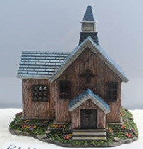 FD59 - Church Solar Fairy House -  *  TAMARR SALE 50% OFF . BOXED QUANTITES (2,3,4) 2 . MIN 12 ASSORTED