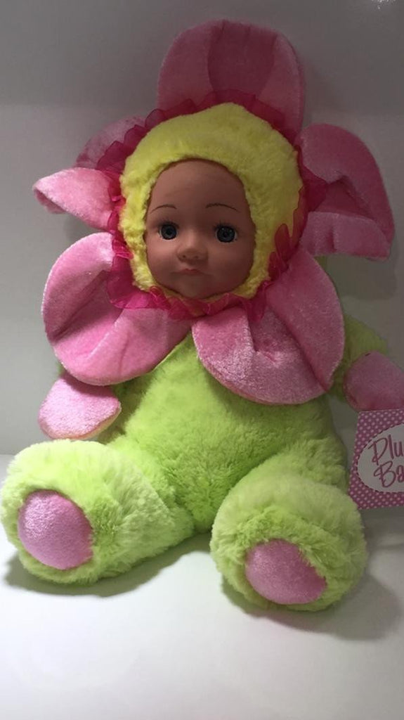 HA161 - Plush Baby Flower 'Sunshine' - Pink/Green . TAMARR  SALE 50% OFF MINIMUM 24 ASSORTED