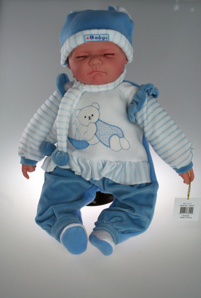 HA331 - Sleeping Baby Doll 'Harrison' . TAMARR Clearance SALE Has a slight blue mark under hat BUY 12 or MORE @ $9.00 each while stock lasts