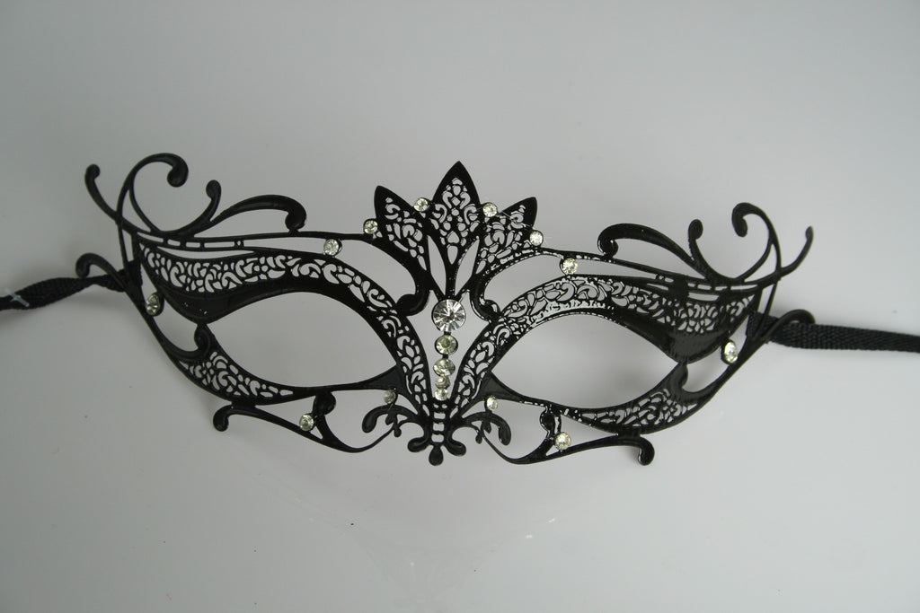 MK102 - Black Mask with Diamantes -  CLEARANCE 50% OFF LISTED PRICE