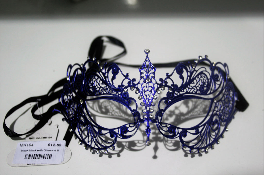 MK104 - Blue Mask with Diamantes -  CLEARANCE 50% OFF LISTED PRICE