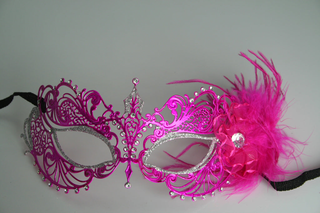 MK108 - Hot Pink Mask with Feather -  TAMARR SALE  50% OFF