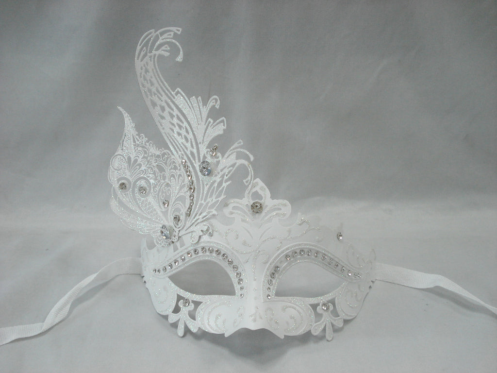 MK116 - White Mask with Diamante & Metal Design