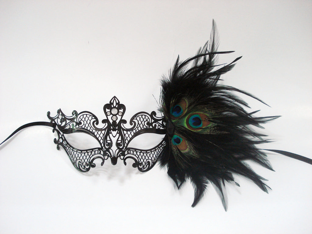 MK120 - Black Mask with Peacock Feather