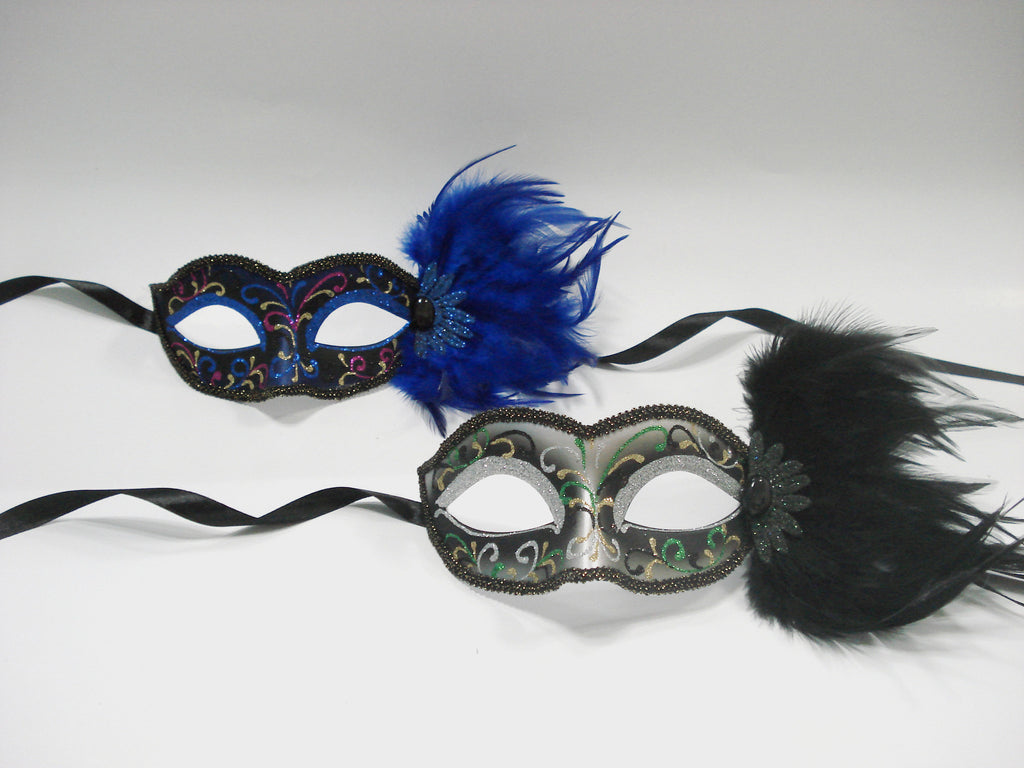 MK121 - Set of 2 Black/Blue Masks with Feathers