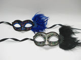 MK121 - Set of 2 Black/Blue Masks with Feathers - Tamarr Imports Innovative Giftware Pty Ltd