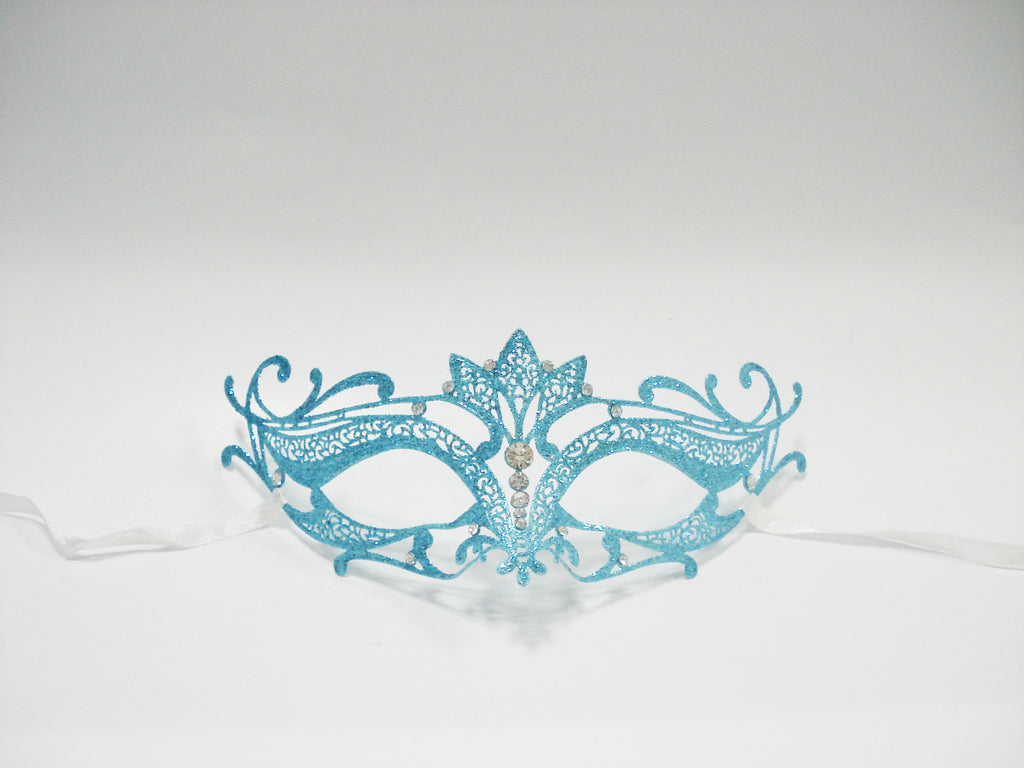 MK128 - Skyblue Swan Glitter Mask - CLEARANCE 50% OFF LISTED PRICE