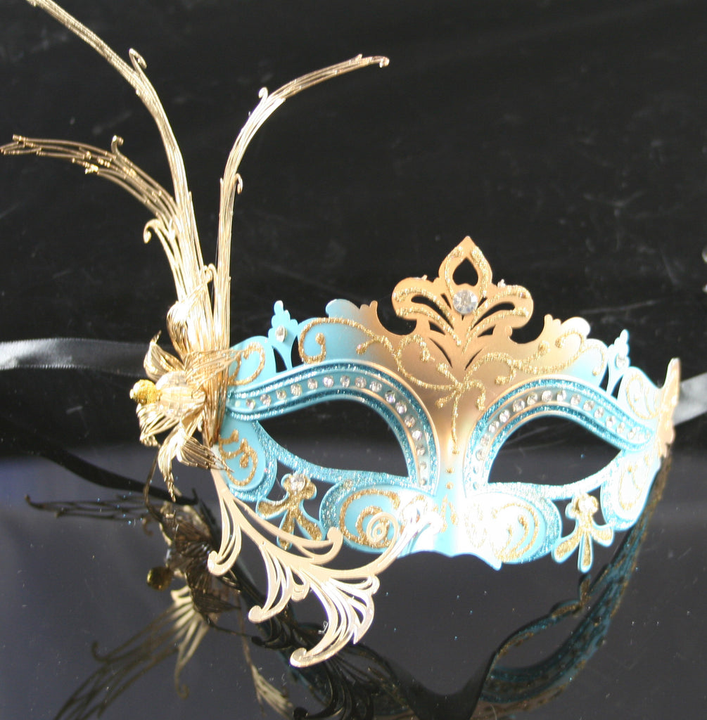 MK130 - Skyblue & Gold Diamante Mask -  TAMARR SALE  50% OFF