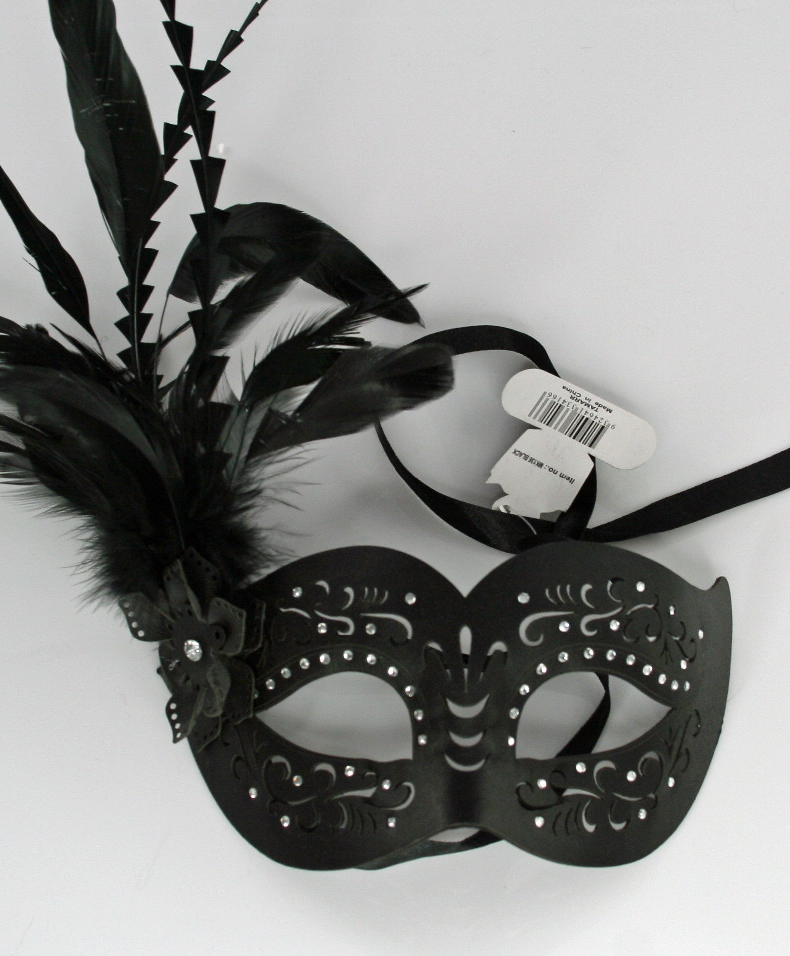 MK136 - Black Leatherette Mask with Feathers -  CLEARANCE HALF PRICE OFF ORIGINAL PRICE BELOW