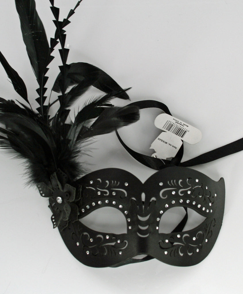 MK136 - Black Leatherette Mask with Feathers -  TAMARR SALE  50% OFF