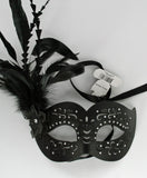 MK136 - Black Leatherette Mask with Feathers - Tamarr Imports Innovative Giftware Pty Ltd