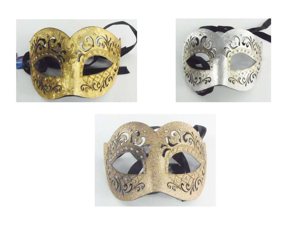 MK140 - Set of 3 Assorted Leatherette Mask with Diamantes