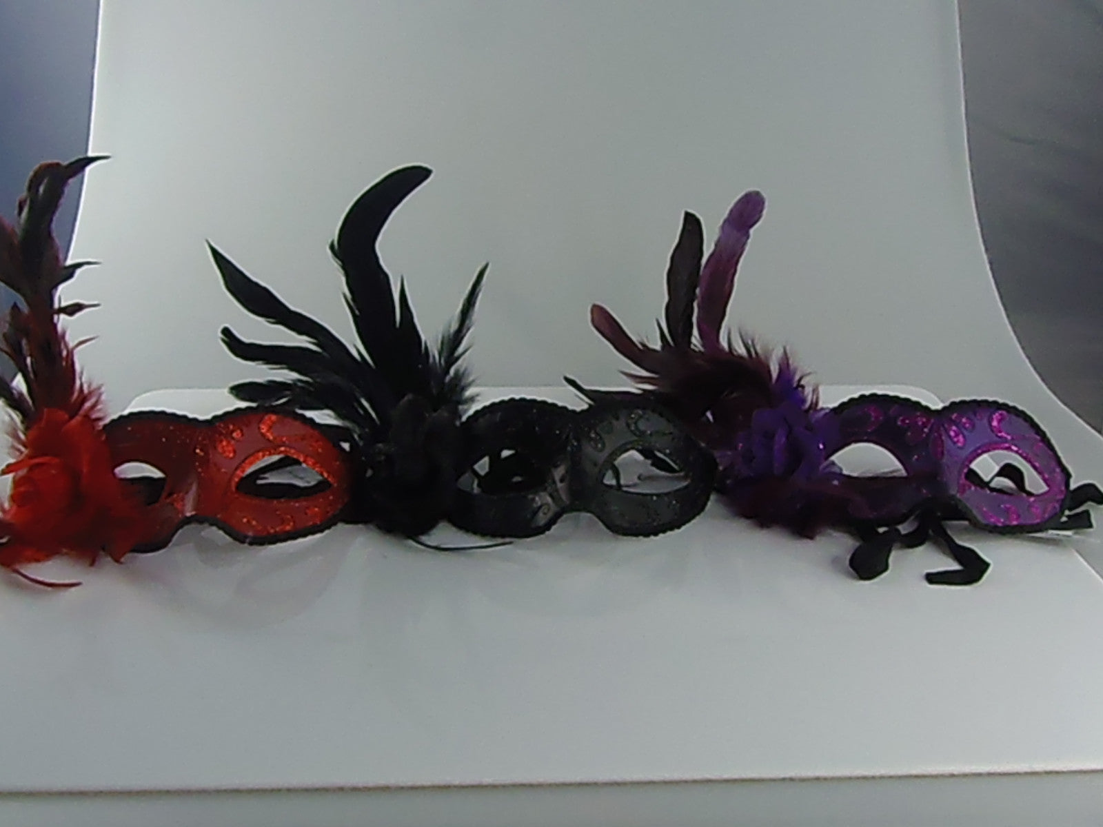 MK141 - Set of 3 Assorted Masks with Feathers -  CLEARANCE 50% OFF LISTED PRICE SOLD AS SETS