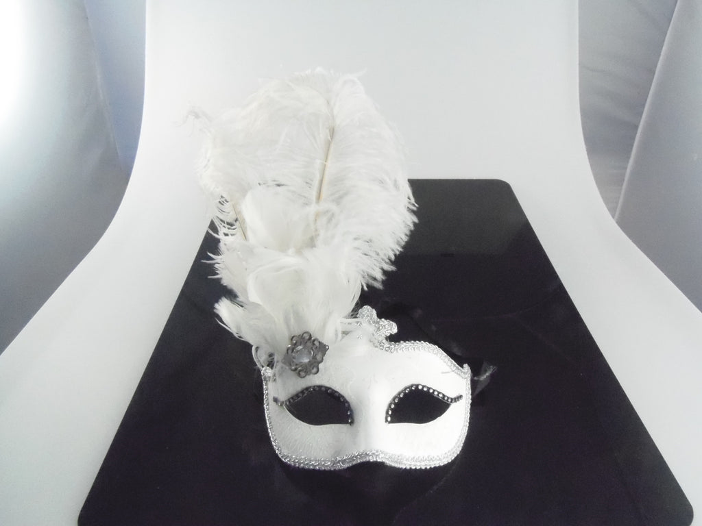 MK143 - White Mask with Feather -  TAMARR SALE  50% OFF