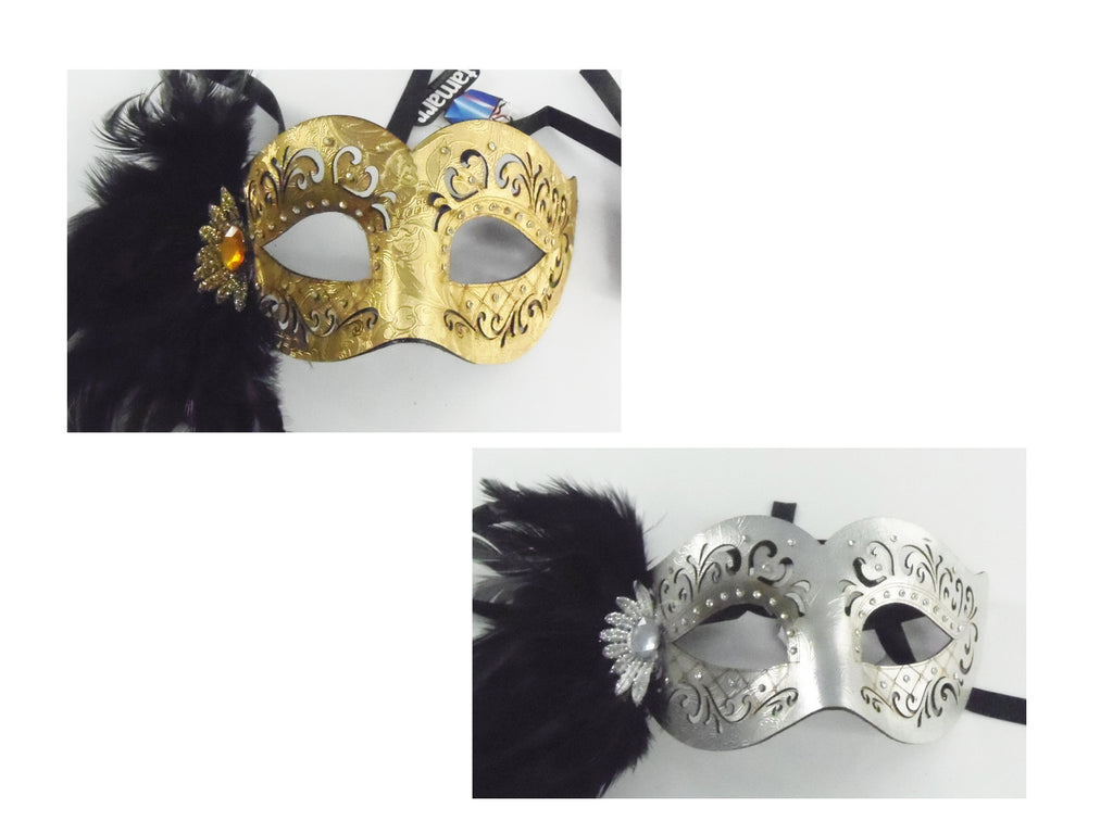 MK144 - Set of 2 Assorted Gold/Silver Masks with Feathers