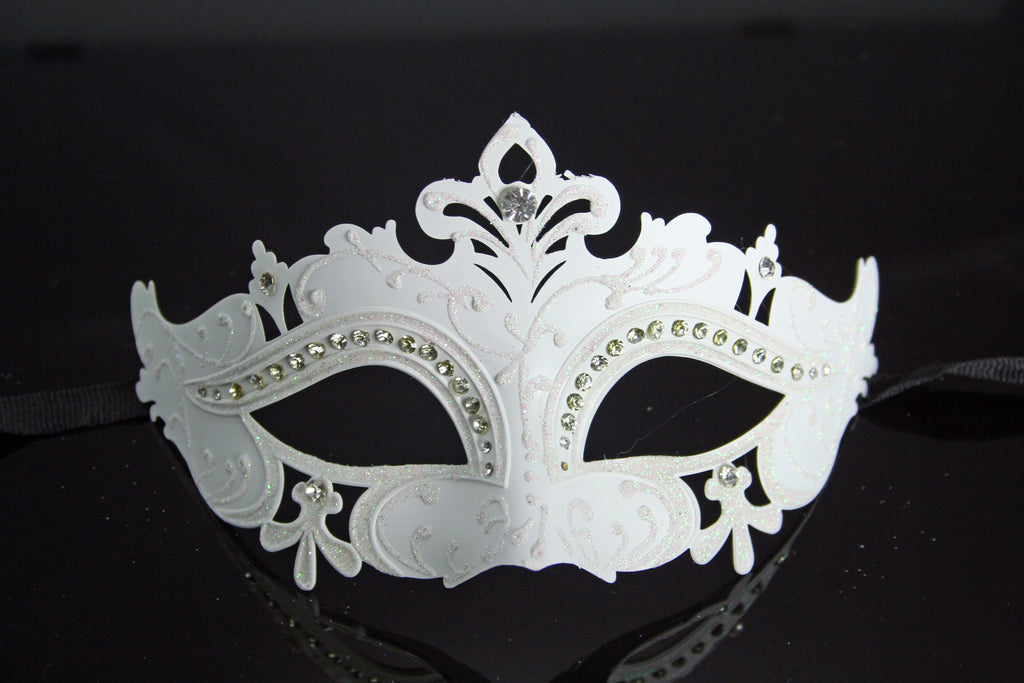 MK55A - White mask with Diamantes - CLEARANCE 50% OFF LISTED PRICE