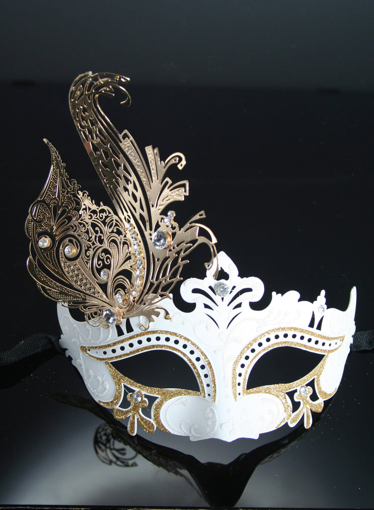 MK57 - White Mask with Diamante & Metal Design -  TAMARR SALE  50% OFF