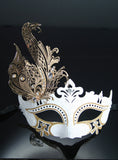 White Mask with Diamante & Metal Design - MK57 CLEARANCE HALF PRICE OFF ORIGINAL PRICE BELOW