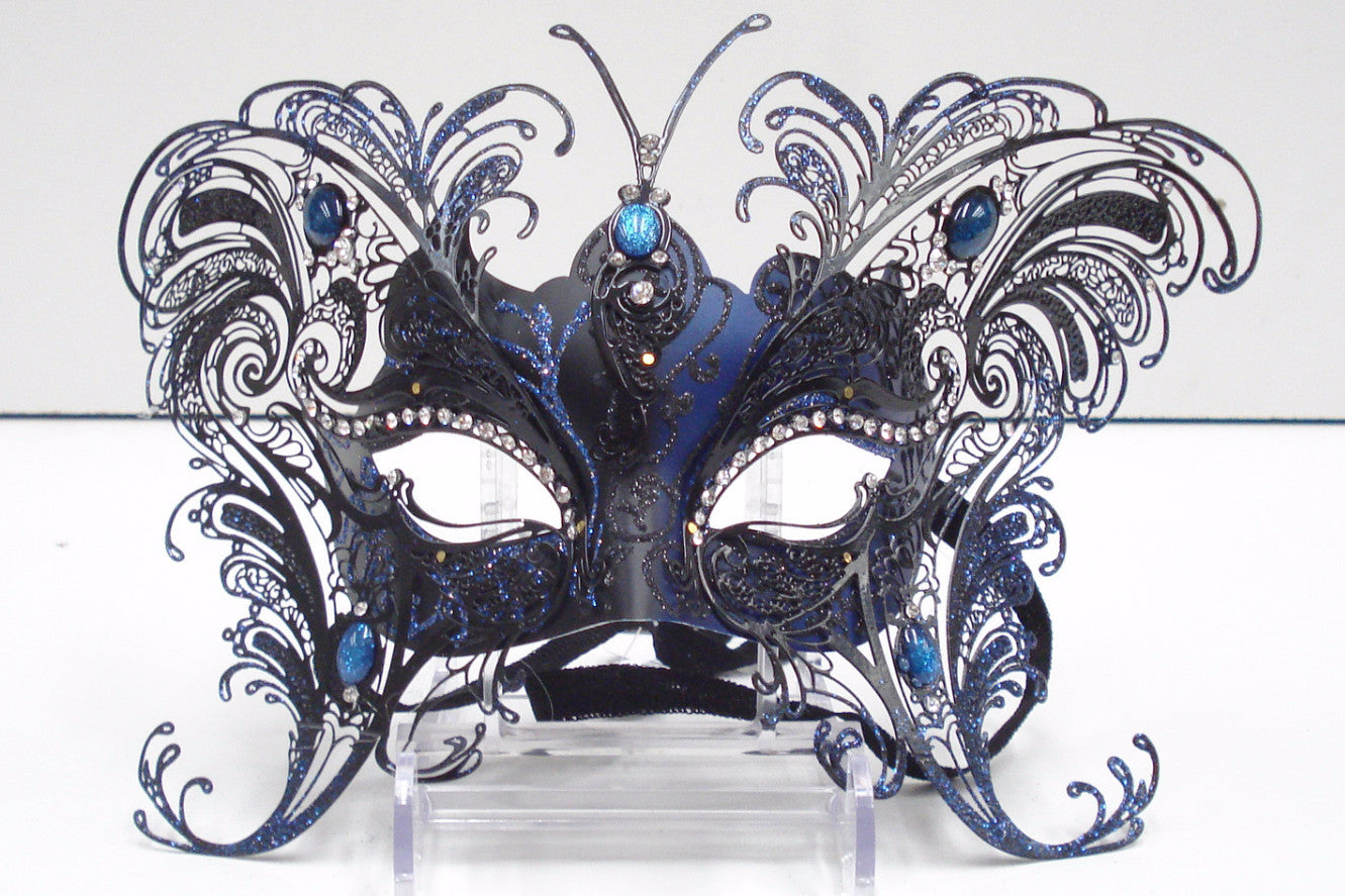 MK64 - Large Black/Blue Butterfly Mask - Tamarr Imports Innovative Giftware Pty Ltd