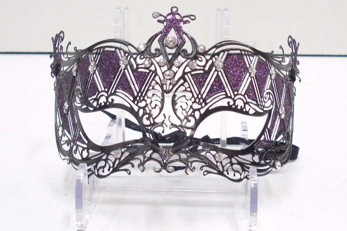 MK65 - Purple Glitter Mask with Black Metal Design - Tamarr Imports Innovative Giftware Pty Ltd