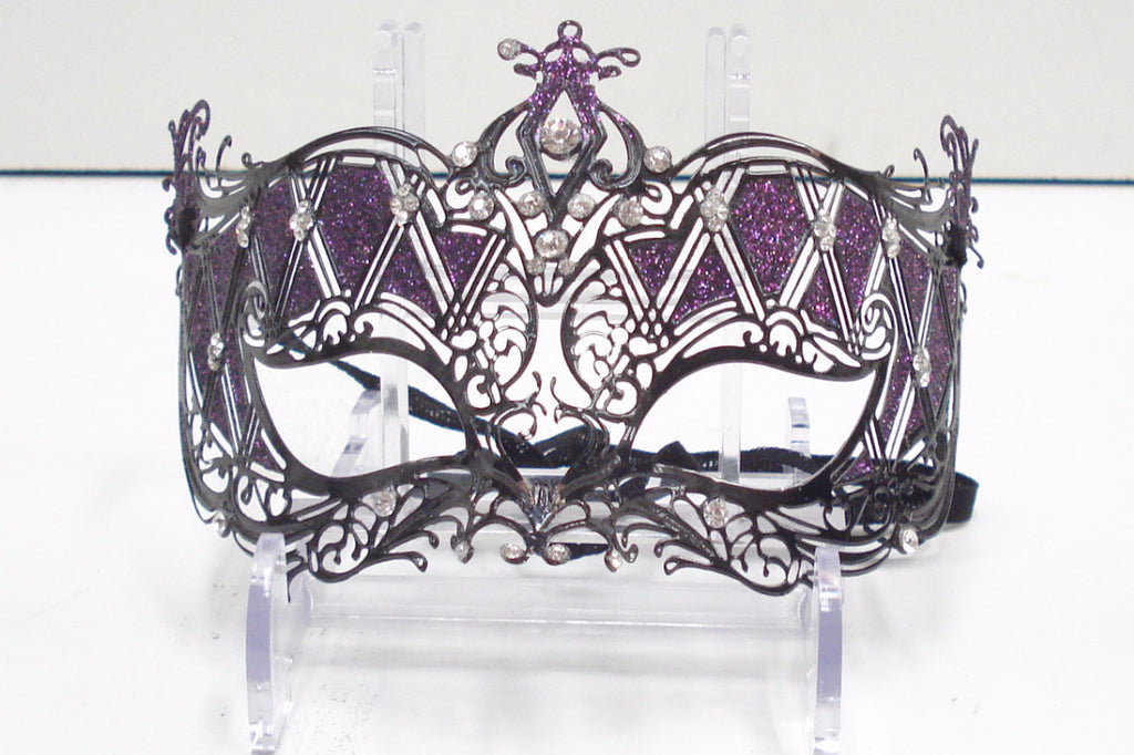 MK65 - Purple Glitter Mask with Black Metal Design