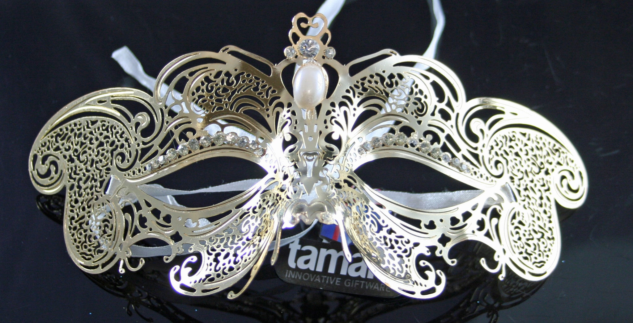 MK67 - Gold Metal Mask with Diamantes -  CLEARANCE 50% OFF LISTED PRICE