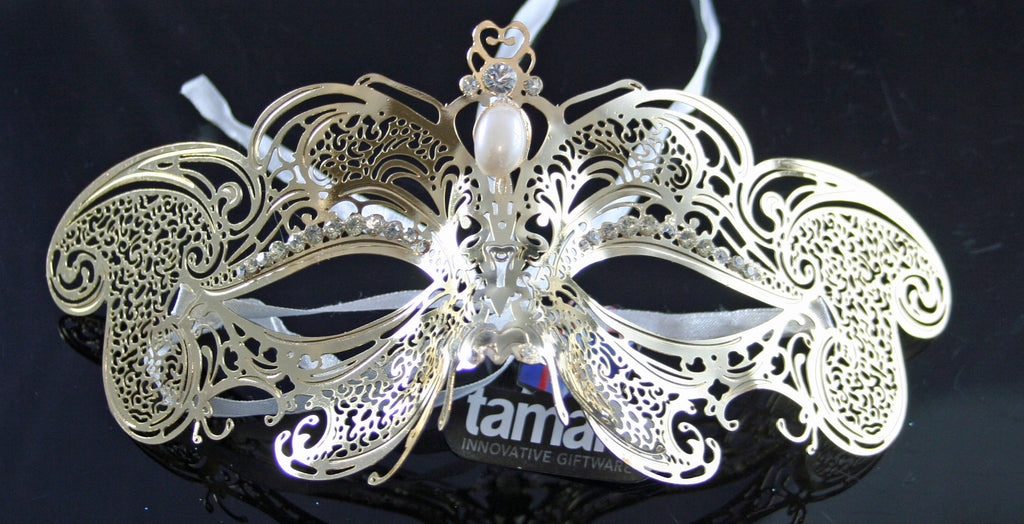 MK67 - Gold Metal Mask with Diamantes