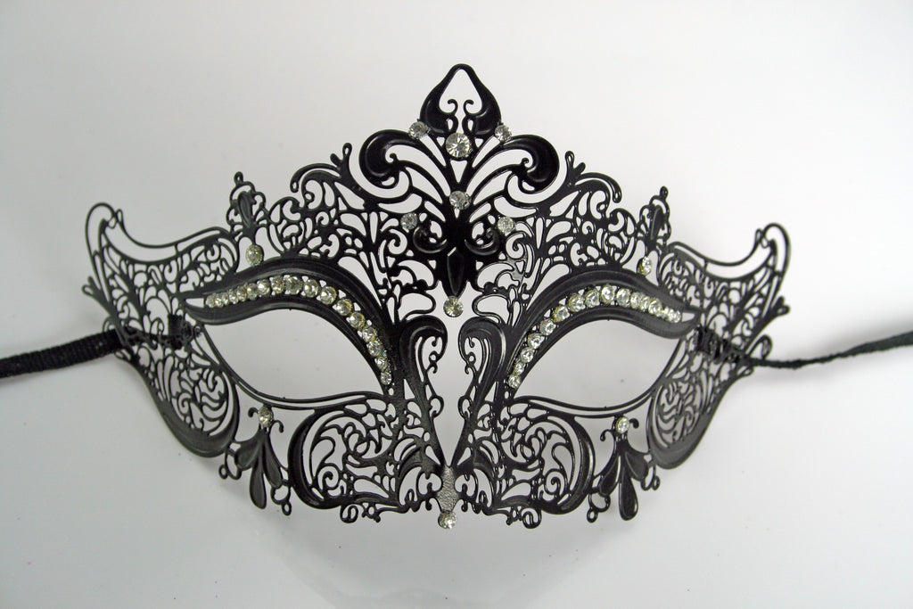 MK84 - Black Metal Mask with Diamantes - Min 12 Order