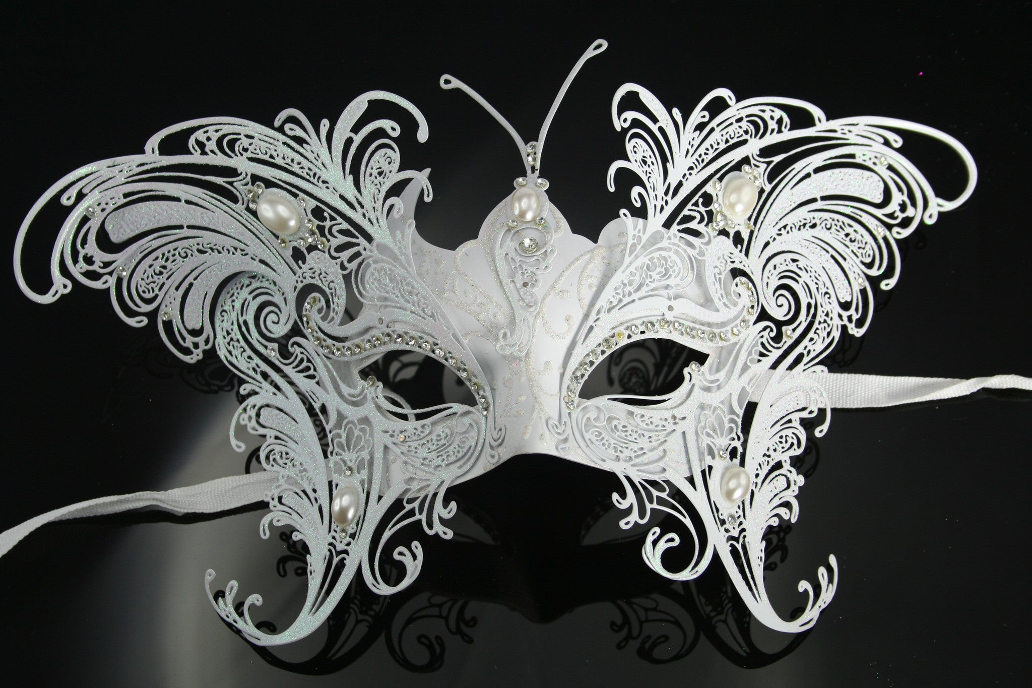 MK90 - White Butterfly Mask -  CLEARANCE HALF PRICE OFF ORIGINAL PRICE BELOW