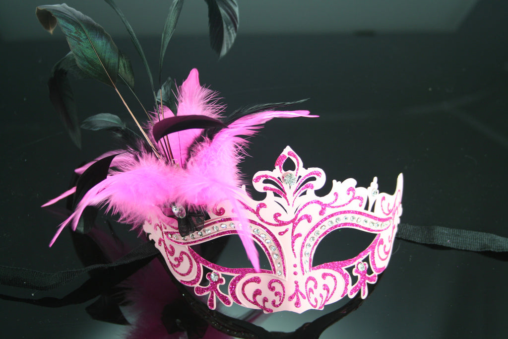 MK92 - Pink Mask with Feathers & Diamantes -  TAMARR SALE 50% OFF