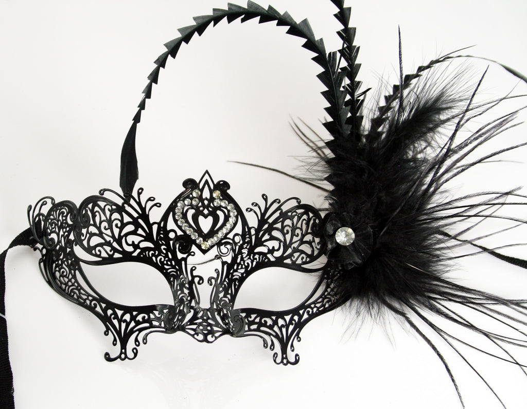 MK96 - Black Metal Mask with Feather & Diamante