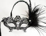 MK96 - Black Metal Mask with Feather & Diamante -  CLEARANCE 50% OFF LISTED PRICE