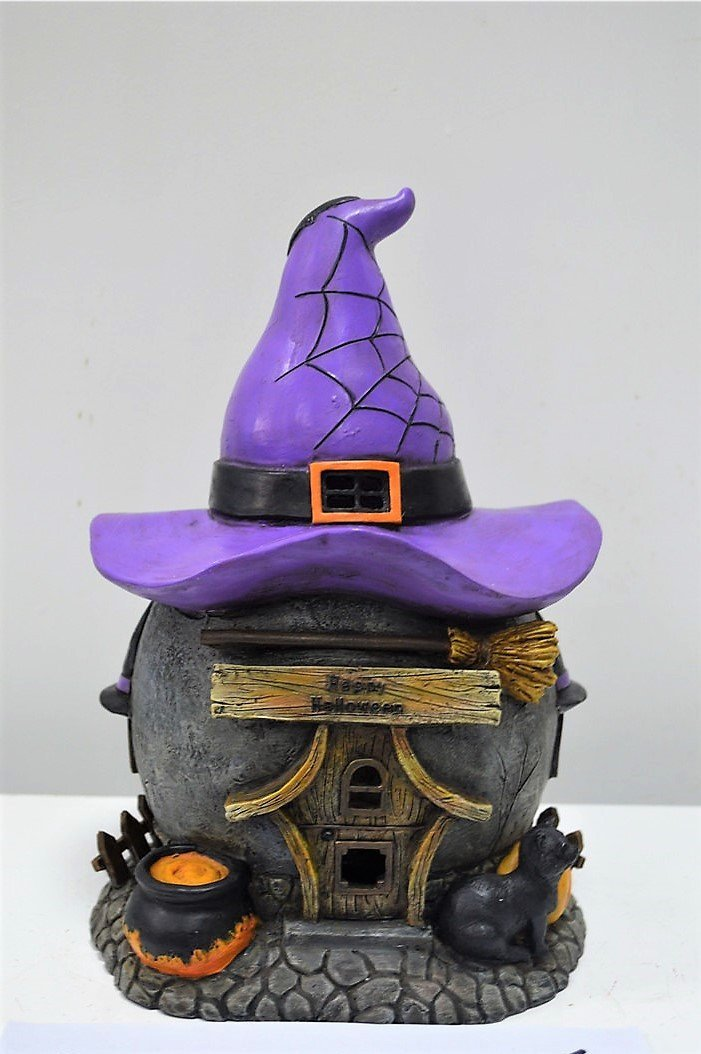 FD74 - Resin Halloween Solar Hat House - BOXED QUANTITIES (2,3,4) - Tamarr Imports Innovative Giftware Pty Ltd
