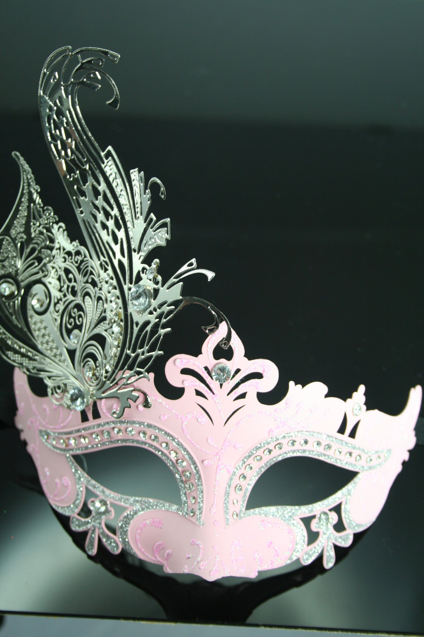 MK62 - Pink Mask with Diamantes and Metal Design -  CLEARANCE 50% OFF LISTED PRICE