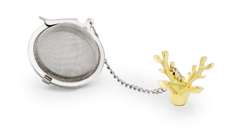 Tea Infuser Christmas reindeer gold
